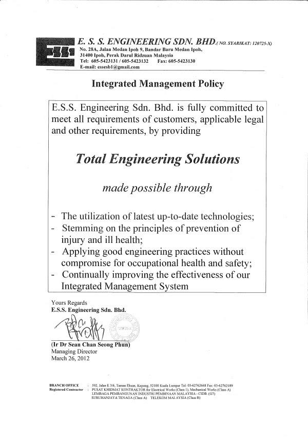 Total Engineering Solutions, ESS Engineering, ESS, Ipoh, Perak